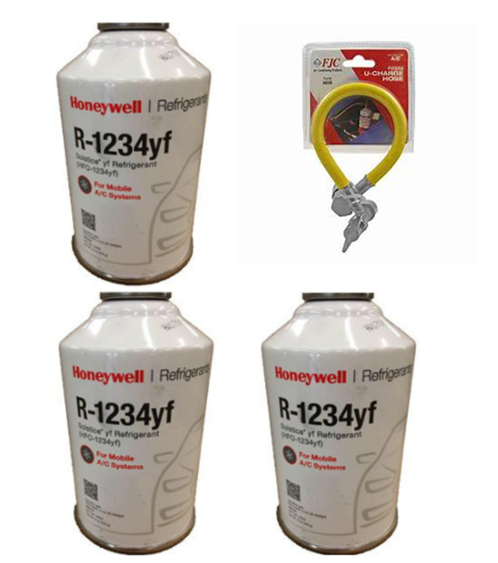 Honeywell R 1234yf Three 8 Ounce Cans Charging Hose Refrigerant Depot